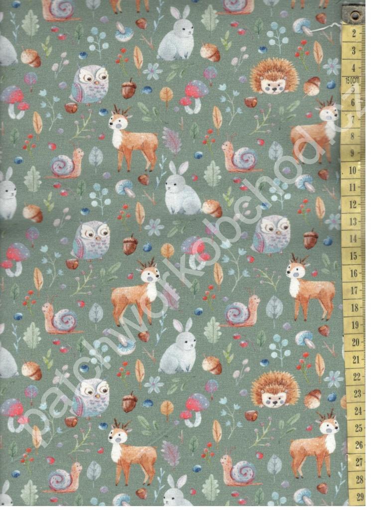 O Úplet -zvířátka na zelené - digitální tisk 95% bavlna 5% elastan ... 20ff8e3021